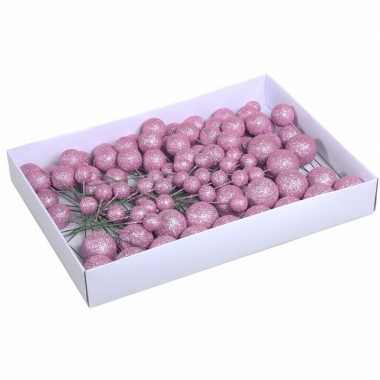 100x roze glitter mini kerstballen stekers kunststof 2/3/4 cm