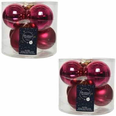12x bessen roze glazen kerstballen 8 cm glans en mat
