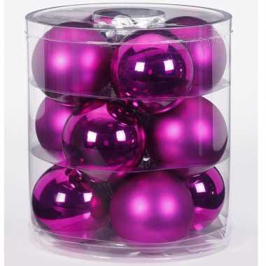 12x fuchsia glazen kerstballen 8 cm glans en mat