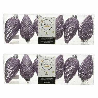 12x lila paarse dennenappels kersthangers 8 cm kunststof glitter