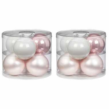12x noble rose mix roze/witte glazen kerstballen 10 cm glans en mat