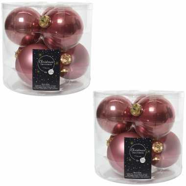 12x oud roze glazen kerstballen 8 cm glans en mat