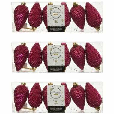 18x bessen roze dennenappels kersthangers 8 cm kunststof