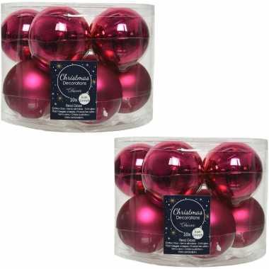 20x bessen roze glazen kerstballen 6 cm glans en mat
