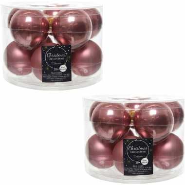 20x oud roze glazen kerstballen 6 cm glans en mat