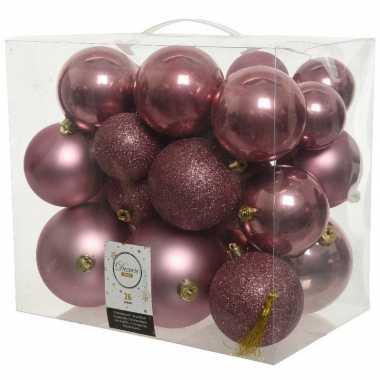 26 stuks oud roze kerstballen 6-8-10 cm kunststof