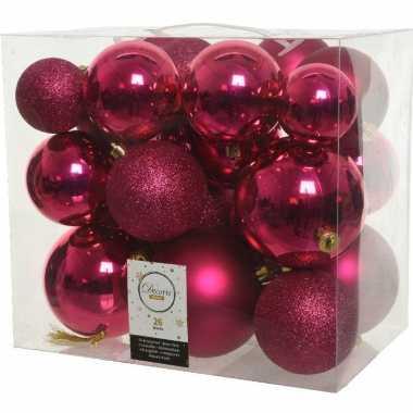 26x stuks bessen roze kerstballen 6-8-10 cm kunststof