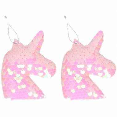 2x eenhoorn roze pailletten kerstboomhanger/kersthanger 7 cm