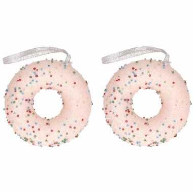 2x kerstboomhanger/kersthanger lichtroze donut met kraaltjes 10 cm