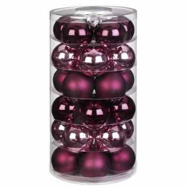 30x berry kiss mix roze/rode glazen kerstballen 6 cm glans en mat