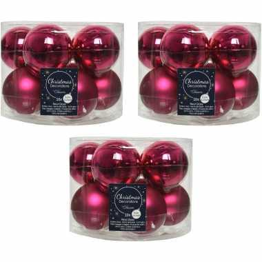 30x bessen roze glazen kerstballen 6 cm glans en mat