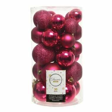 30x bessen roze kerstballen 4 - 5 - 6 cm kunststof