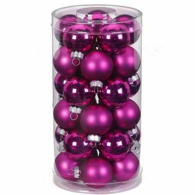 30x fuchsia roze kleine glazen kerstballen 4 cm glans en mat