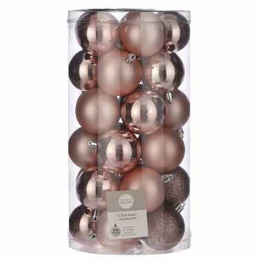 30x kunststof kerstballen lichtroze 6 cm