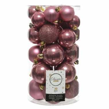 30x oud roze kerstballen 4 - 5 - 6 cm kunststof