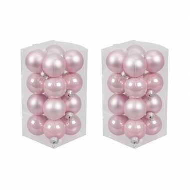 32x roze kleine glazen kerstballen 3,5 cm mat/glans