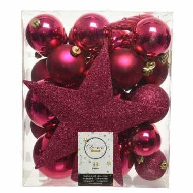 33x bessen roze kerstballen met ster piek 5-6-8 cm kunststof mi