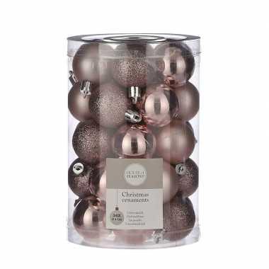 34x kunststof kerstballen lichtroze 4 cm