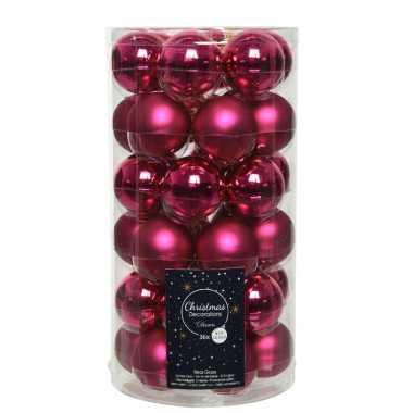36x bessen roze kleine glazen kerstballen 4 cm mat en glans