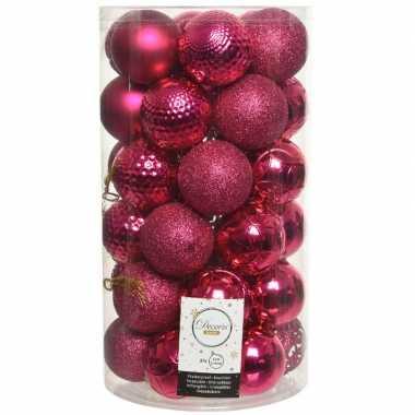 37x bessen roze kerstballen 6 cm kunststof mix