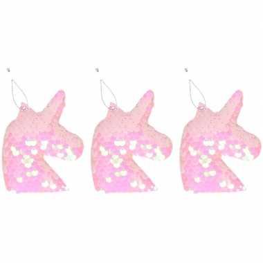 3x eenhoorn roze pailletten kerstboomhanger/kersthanger 7 cm