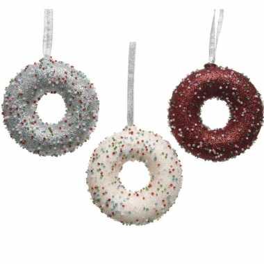3x kerstboom versieringen donuts snoepgoed van 10 cm
