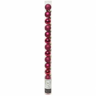 40x kleine bessen roze kunststof kerstballen 3 cm