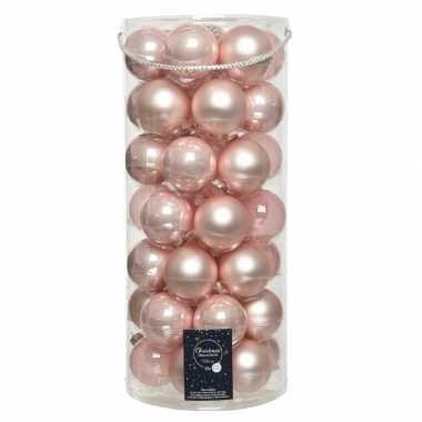 49x lichtroze glazen kerstballen 6 cm glans en mat