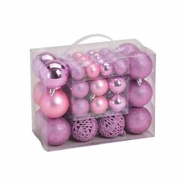 50x roze kunststof kerstballen 3, 4 en 6 cm