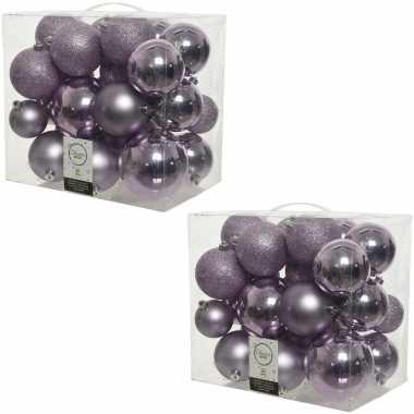 52x lila paarse kerstballen 6-8-10 cm kunststof mix