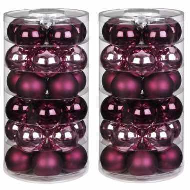 60x berry kiss mix roze/rode glazen kerstballen 6 cm glans en mat