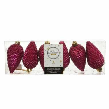 6x bessen roze dennenappels kersthangers 8 cm kunststof