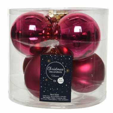 6x bessen roze glazen kerstballen 8 cm glans en mat