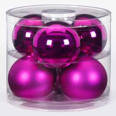 6x fuchsia glazen kerstballen 10 cm glans en mat