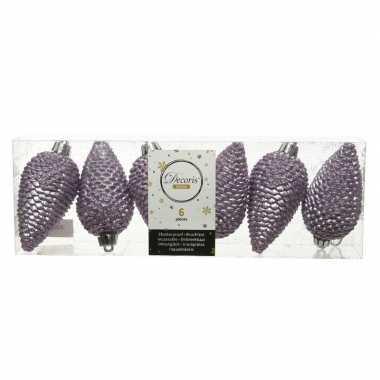 6x lila paarse dennenappels kersthangers 8 cm kunststof glitter