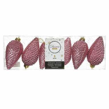 6x oud roze dennenappels kersthangers 8 cm kunststof glitter