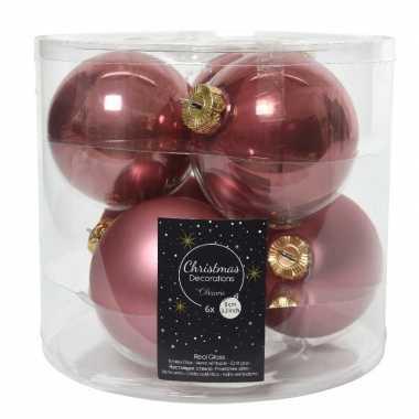 6x oud roze glazen kerstballen 8 cm glans en mat