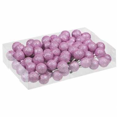 80x roze glitter mini kerstballen stekers kunststof 3 cm