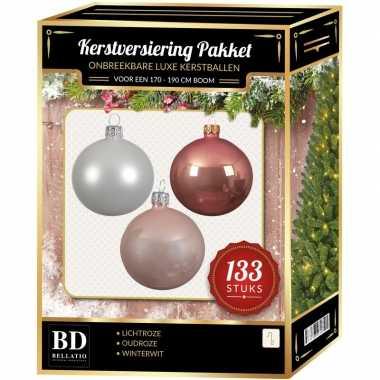 Complete kerstballen set 133x wit-lichtroze-oud roze voor 180 cm kers
