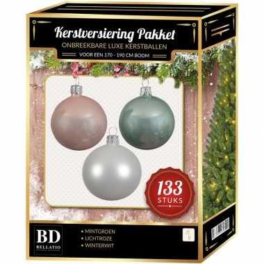 Complete kerstballen set 133x wit-mintgroen-lichtroze voor 180 cm ker