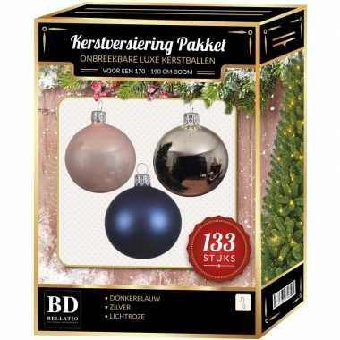 Complete kerstballen set 133x zilver-donkerblauw-lichtroze voor 180 c