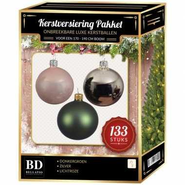 Complete kerstballen set 133x zilver-donkergroen-lichtroze voor 180 c