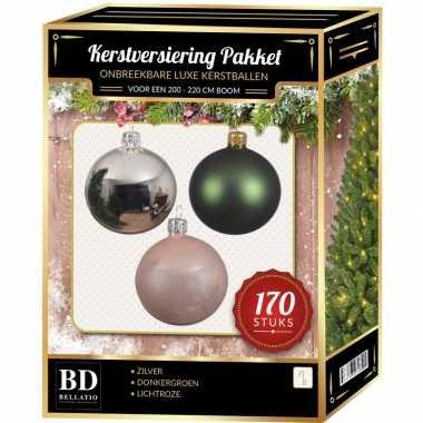 Complete kerstballen set 170x zilver-donkergroen-lichtroze voor 210 c