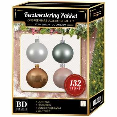 Complete kerstballen set champagne/wit/mintgroen/lichtroze voor 180 c