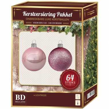 Complete kerstballen set lichtroze voor 120 cm kerstboom