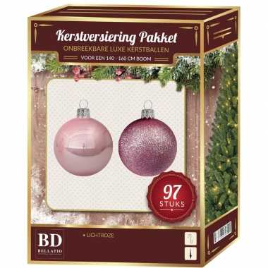 Complete kerstballen set lichtroze voor 150 cm kerstboom