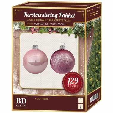 Complete kerstballen set lichtroze voor 180 cm kerstboom