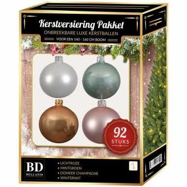 Complete kerstballen set wit/beige/mintgroen/lichtroze voor 150 cm kerstboom