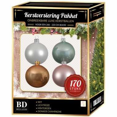 Complete kerstballen set wit-champagne-mintgroen-lichtroze voor 210 c