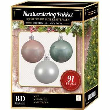Complete kerstballen set wit-mintgroen-lichtroze voor 150 cm kerstboo